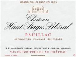 CHATEAU HAUT-BAGES-LIBERAL 5me cru classe, Pauillac 2016