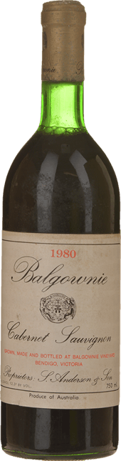 BALGOWNIE ESTATE Cabernet Sauvignon, Bendigo 1980