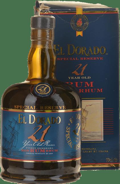 DEMERARA DISTILLERS El Dorado 21 Year Old 43% ABV Rum, Guyana NV