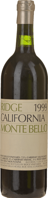 RIDGE VINEYARDS Monte Bello Cabernets, Santa Cruz Mountains 1999
