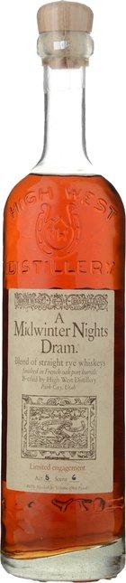 HIGH WEST DISTILLERY A Midwinter Night Dram Straight Rye Whiskey 49.3% ABV Whiskey, U.S.A. NV