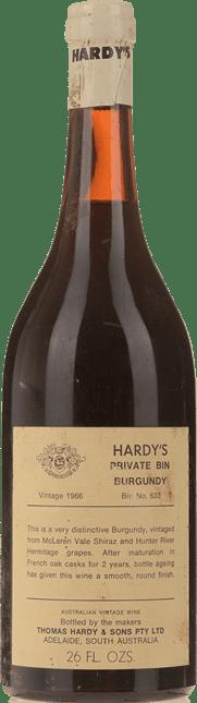 HARDY'S Private Bin 633 (Burgundy) Shiraz, McLaren Vale-Hunter Valley 1966