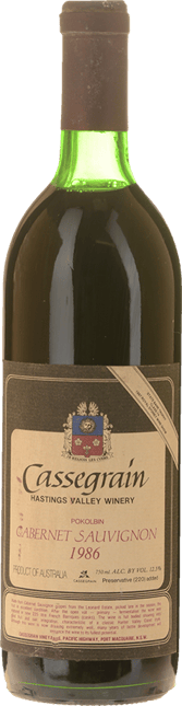CASSEGRAIN WINES Hastings Valley Cabernet, Northern Rivers 1986