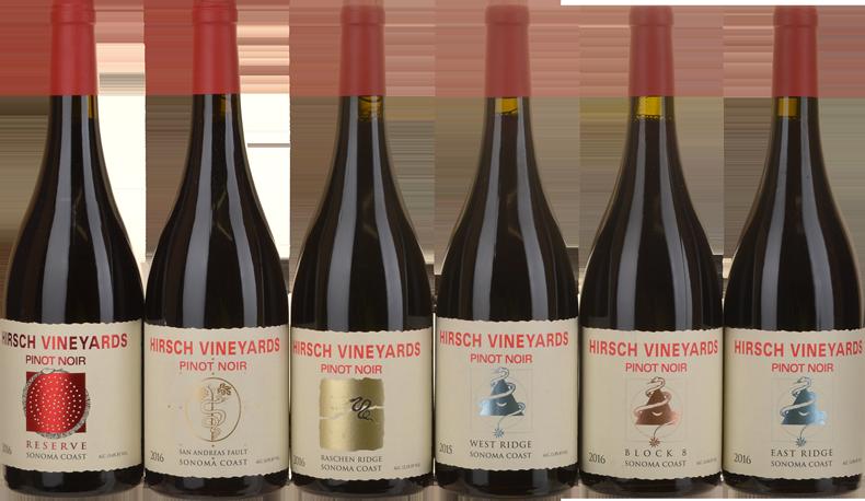 HIRSCH VINEYARDS Pinot Noir six-pack, Sonoma 2016