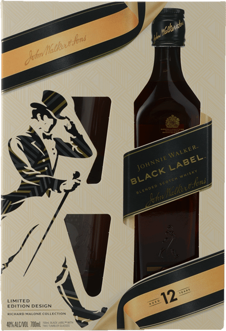 JOHNNIE WALKER Black Label 40% ABV Giftpack with 2 Tumblers, Scotland NV