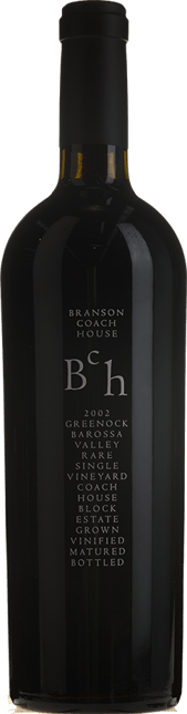 BRANSON COACH HOUSE Rare Greenock (black label) Shiraz, Barossa Valley 2002