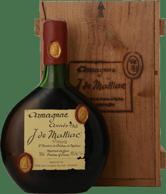 J.DE MALLIAC 40% ABV, Armagnac 1943