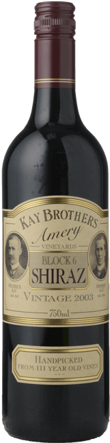KAY BROS AMERY Block 6 Old Vine Shiraz, McLaren Vale 2003