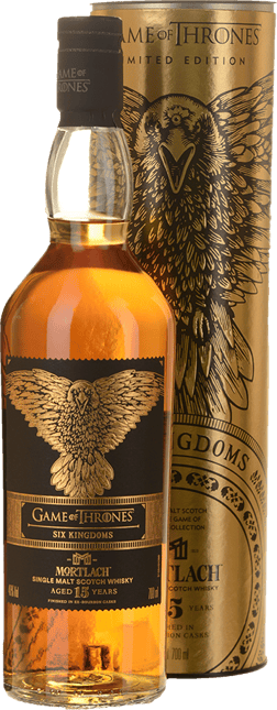 MORTLACH Game of Thrones Six Kingdoms Tribute 15 Years Old Single Malt Scotch Whiskey 46% ABV, Speyside NV
