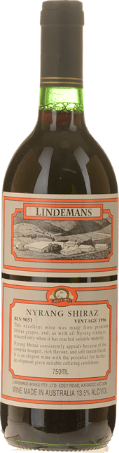 LINDEMANS BIN 9051 Nyrang Shiraz, Hunter Valley 1996