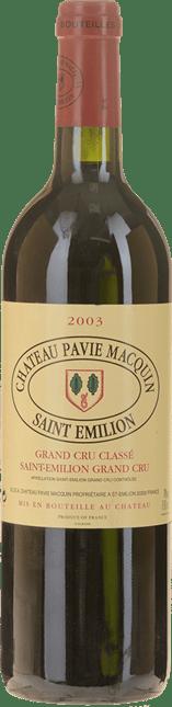 CHATEAU PAVIE-MACQUIN 1er grand cru classe (B), St-Emilion 2003