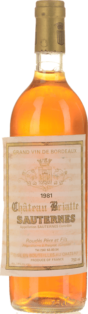 CHATEAU BRIATTE, Sauternes 1981