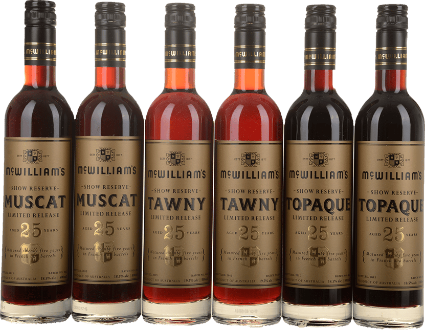 MCWILLIAM'S WINES 25 Year Old Show Reserve Limited Release Fortified 6 x 500mL Mixed Set, Riverina NV