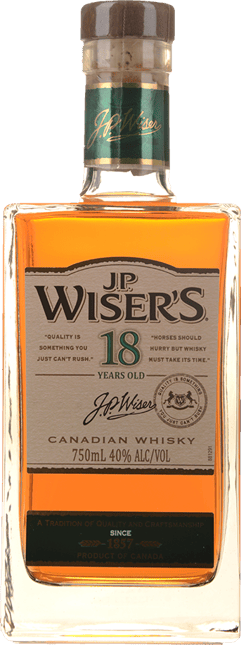 J.P. WISER'S 18 year Old 40% ABV, Canada NV