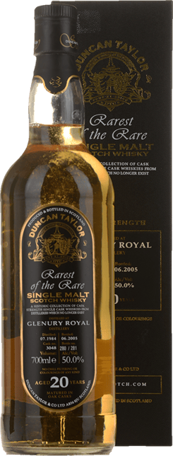DUNCAN TAYLOR Rarest of the Rare Glenury Royal 20 Years Old 50.0% ABV Single Malt Scotch Whisky NV