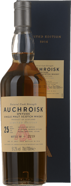 AUCHROISK Limited Edition 1990 25 Year Old Scotch Whisky 51.2% ABV, Speyside NV