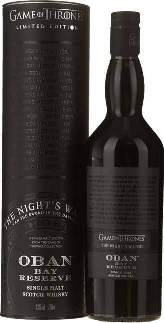 OBAN Bay Reserve Game of Thrones The Night's Watch Single Malt Scotch Whiskey 43% ABV, The Highlands NV