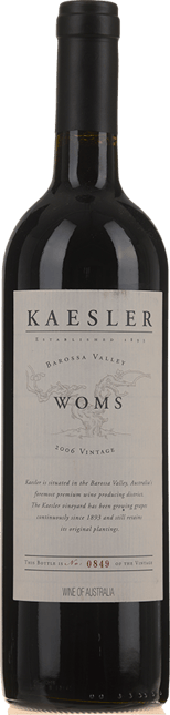 KAESLER WINES W.O.M.S. Shiraz Cabernet, Barossa Valley 2006