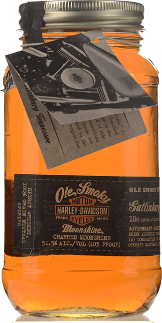 OLE SMOKY DISTILLERY Harley-Davidson Road House Customs Charred Moonshine 51.5% ABV, Tennessee NV