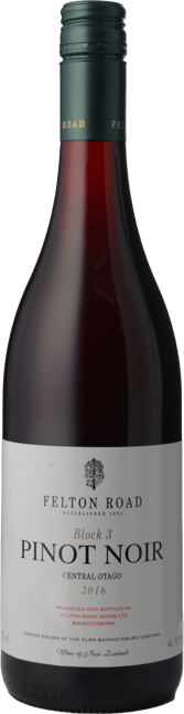 FELTON ROAD Block 3 Pinot Noir, Central Otago 2016