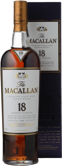MACALLAN 18 Year Old Sherry Cask Matured Single Malt Whisky 43% ABV, The Highlands 1996