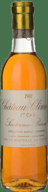 CHATEAU CLIMENS 1er cru classe, Sauternes-Barsac 1981