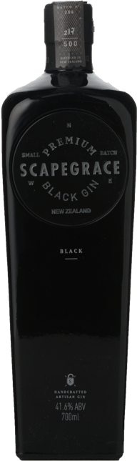 SCAPEGRACE Small Batch Premium Black 41.6% ABV Gin, New Zealand NV