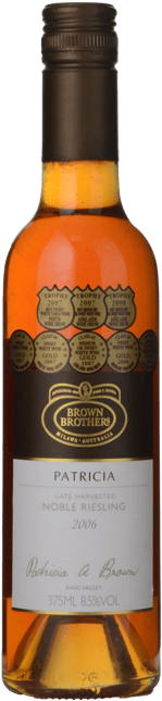 BROWN BROTHERS Patricia Late Harvested Noble Riesling, Milawa 2006