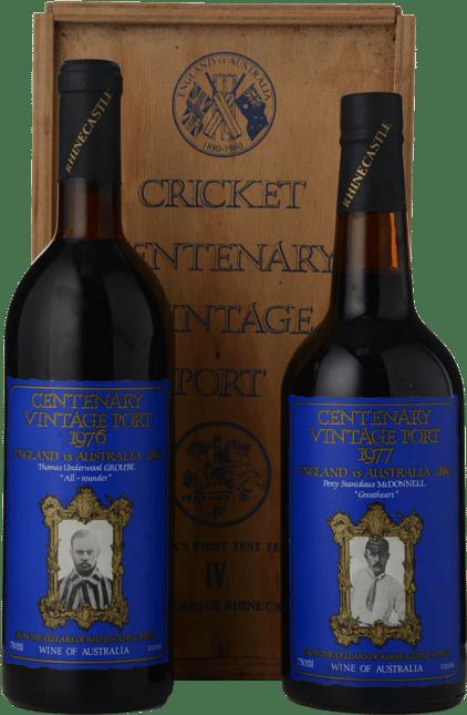 RHINE CASTLE WINES Cricket Centenary 2 bottle set Vintage Port, Barossa Valley MV