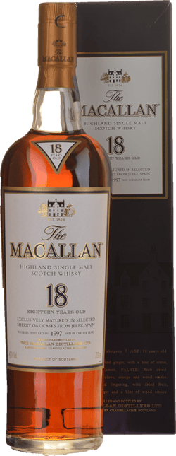 MACALLAN 18 Year Old Sherry Cask Matured Single Malt Whisky 43% ABV, The Highlands 1997