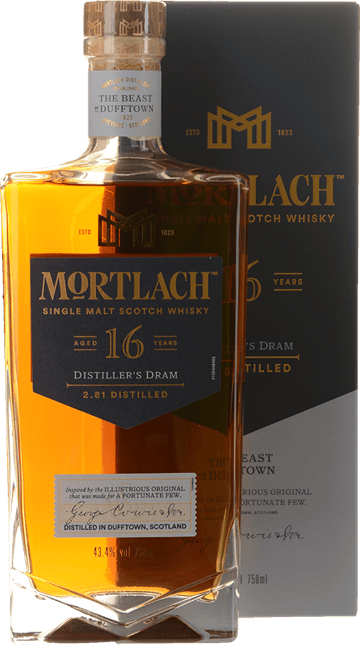 MORTLACH 16 Year Old Single Malt Scotch Whisky 43.4% ABV, Speyside NV