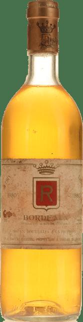 CHATEAU RIEUSSEC, R de Rieussec Blanc Sec, Bordeaux 1980