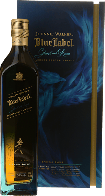 JOHNNIE WALKER Blue Label Ghost and Rare Glenury Royal Scotch Whisky 43.8% ABV, Scotland NV