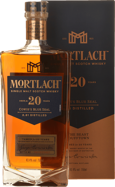 MORTLACH Cowie's Blue Seal 20 Year Old Single Malt Scotch Whisky 43.4% ABV, Speyside NV
