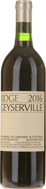 RIDGE VINEYARDS Geyserville Zinfandel blend, Alexander Valley 2016