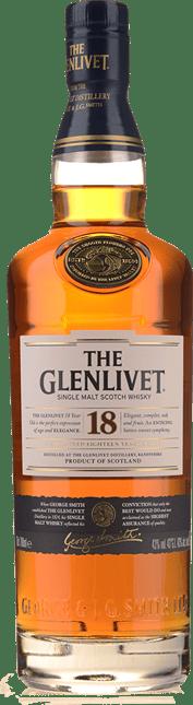 THE GLENLIVET 18 Year Old Single Malt Whisky 43% ABV, Scotland NV