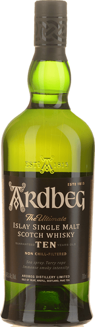 ARDBEG 10 Year Old Scotch Whisky 46% ABV, Scotland NV