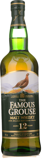 THE FAMOUS GROUSE 12 Year Old Blended Malt Scotch Whisky 40% ABV, Scotland NV