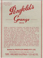 PENFOLDS Bin 95 Grange Shiraz, South Australia 1986