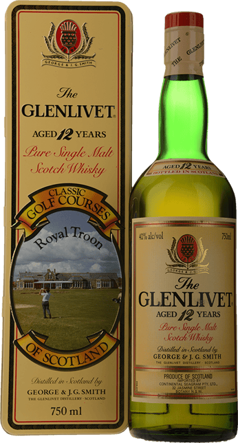 THE GLENLIVET 12 Year Old Classic Golf Courses Royal Troon 40% ABV, Scotland NV