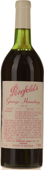 PENFOLDS Bin 95 Grange Shiraz, South Australia 1971