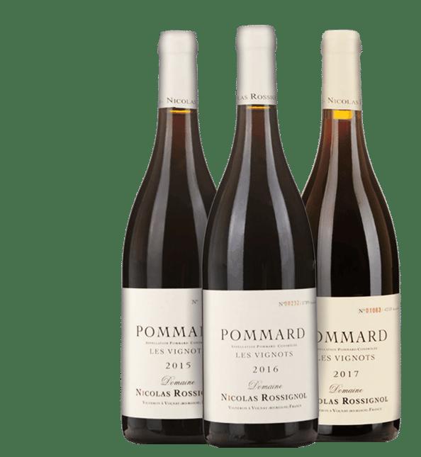 LANGTONS DOMAINE NICOLAS ROSSIGNOL Les Vignots, Pommard Vertical (2015, 2016, 2017) three-pack MV